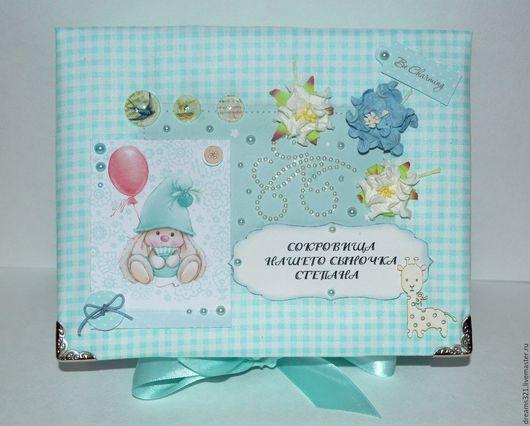 Подарки для новорожденных, ручной работы. Ярмарка Мастеров - ручная работа. Купить Мамины сокровища для мальчика, зайкаМи, тканевая обложка. Handmade.