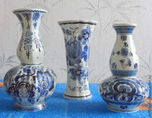 Винтажные предметы интерьера. Ярмарка Мастеров - ручная работа. Купить Набор ваз Delft. Handmade. Голубой, Делфтский фарфор