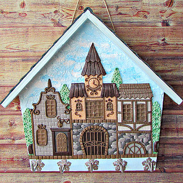For home and interior handmade. Livemaster - original item The Housekeeper Is South Of The City .The housekeeper wall.Decor with polymer clay.. Handmade.