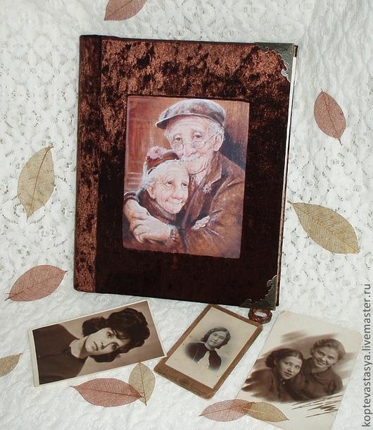 """Фотоальбомы ручной работы. Ярмарка Мастеров - ручная работа. Купить Фотоальбом """"Осень Жизни"""". Handmade. Коричневый, бабушка, Семейный портрет"""