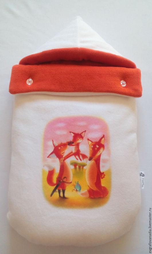 """Для новорожденных, ручной работы. Ярмарка Мастеров - ручная работа. Купить Комплект на выписку """"Family fox"""". Handmade. Комбинированный, сублимация"""
