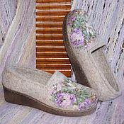 """Обувь ручной работы. Ярмарка Мастеров - ручная работа Туфли офисные валяные """"Цветочное вдохновение""""  Русский стиль. Handmade."""
