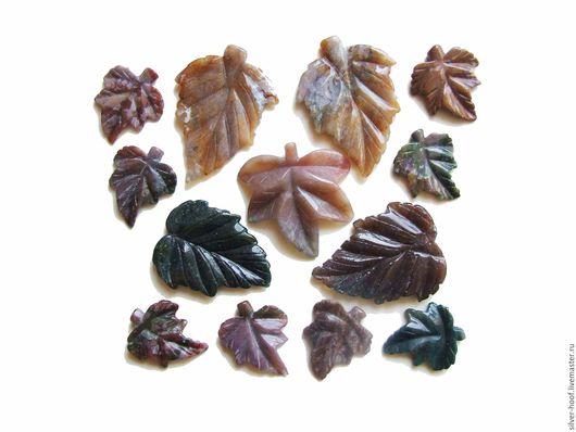 Для украшений ручной работы. Ярмарка Мастеров - ручная работа. Купить Листья резный Индийский агат АССОРТИМЕНТ1. Handmade. Зеленый