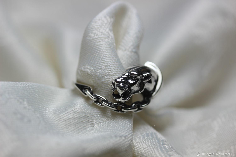 """Кольцо """"Пантера на цепи 2"""" из серебра 925 пробы с фианитами, Кольца, Москва, Фото №1"""