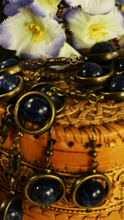 """Комплекты украшений ручной работы. Ярмарка Мастеров - ручная работа. Купить Комплект """"Афганская ночь"""" сотуар-бусы и серьги.. Handmade."""