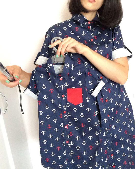 """Платья ручной работы. Ярмарка Мастеров - ручная работа. Купить Платья рубашки для мамы и дочки  """"Пора на море"""". Handmade."""