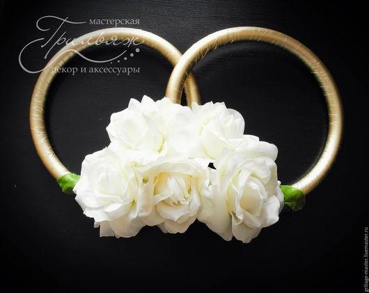 Свадебные цветы ручной работы. Ярмарка Мастеров - ручная работа. Купить Кольца на свадебную машину. Handmade. Белый, кольца на машину