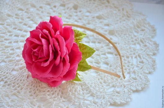 """Диадемы, обручи ручной работы. Ярмарка Мастеров - ручная работа. Купить Ободок с розой """"Розочка"""" из фоамирана. Handmade. Фуксия"""