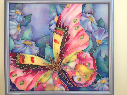 Картины цветов ручной работы. Ярмарка Мастеров - ручная работа. Купить бабочка. Handmade. Сиреневый, фиолетовый, панно, картина для спальни