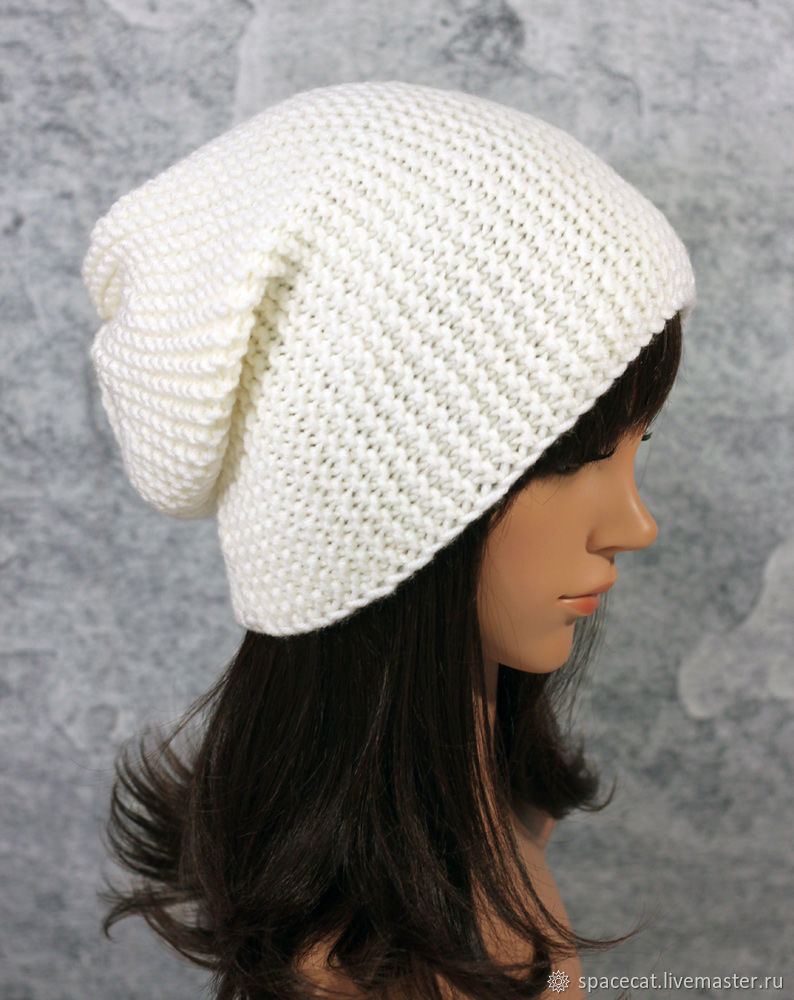 Beanie hat knitted Hooligan White, Caps, Orenburg,  Фото №1