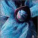 """Шали, палантины ручной работы. Заказать """"Небесные краски в Эбру на шелке"""" - Платок, (рисунки на воде). Ann Iva (ebru). Ярмарка Мастеров."""