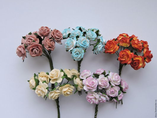 Открытки и скрапбукинг ручной работы. Ярмарка Мастеров - ручная работа. Купить Розы 15 мм 17 расцветок 10 штук. Handmade.