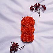 Свечи ручной работы. Ярмарка Мастеров - ручная работа Красная литая свеча в форме букета из роз. Handmade.
