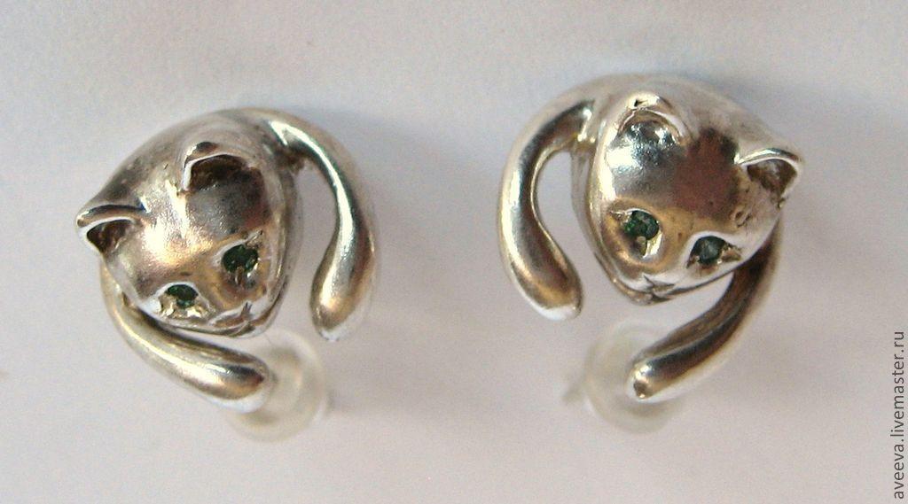 Серьги серебро коты