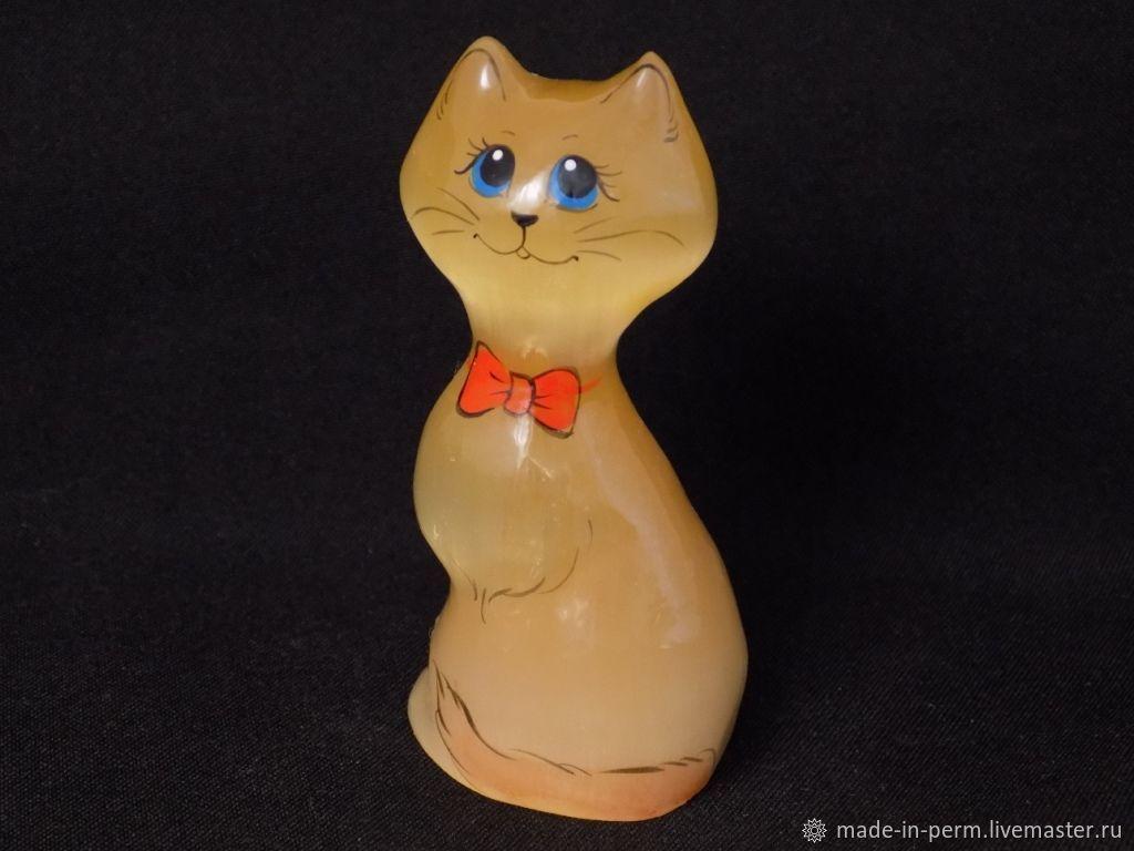 Кошка с красным бантиком - фигурка из камня Селенит, Статуэтки, Орда,  Фото №1