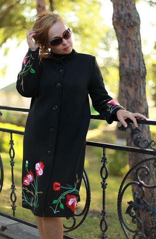 """Верхняя одежда ручной работы. Ярмарка Мастеров - ручная работа. Купить Пальто трикотажное """"Маки-2"""". Handmade. Черный, шерсть"""