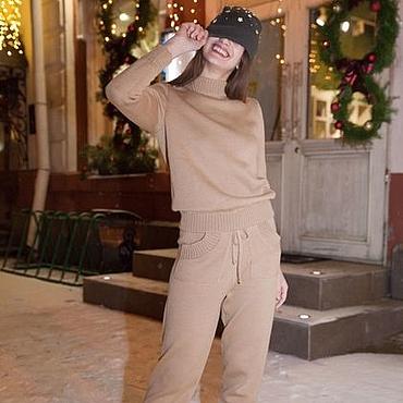 Одежда ручной работы. Ярмарка Мастеров - ручная работа Спортивный однотонный костюм с завышенной талией бежевый. Handmade.
