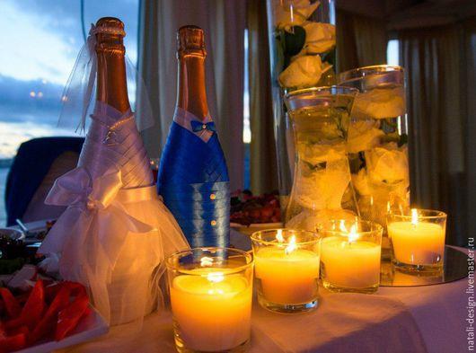 Свадебные аксессуары ручной работы. Ярмарка Мастеров - ручная работа. Купить Свадебные бутылки. Handmade. Свадебные аксессуары, свадебные бокалы