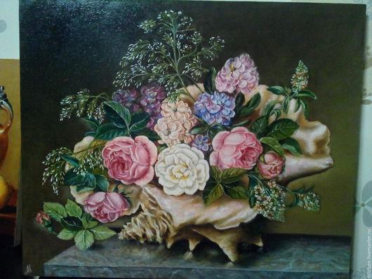 Картины цветов ручной работы. Ярмарка Мастеров - ручная работа. Купить Розы в раковине. Handmade. Розовый, картина на холсте