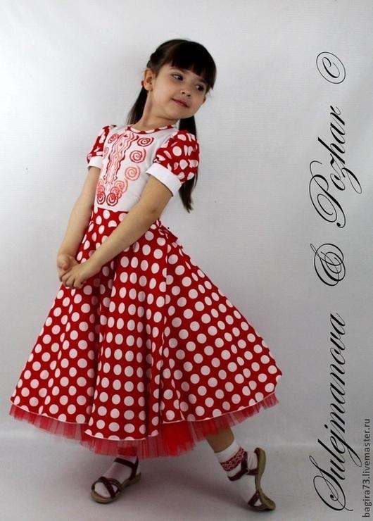 """Одежда для девочек, ручной работы. Ярмарка Мастеров - ручная работа. Купить Платье """"Горошек"""". Handmade. Ярко-красный, вышивка на платье"""