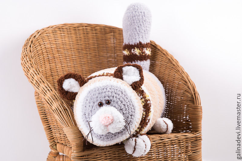 knitted pillow 'cat 'abaric' kotopoulo, Pillow, Moscow,  Фото №1