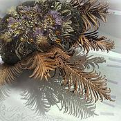 handmade. Livemaster - original item Black takes Purple night. Wool, embroidery-beads fur pearls lace. Handmade.