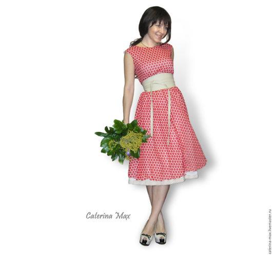 Платья ручной работы. Ярмарка Мастеров - ручная работа. Купить Платье в красный горошек. Handmade. В горошек, платье цветное