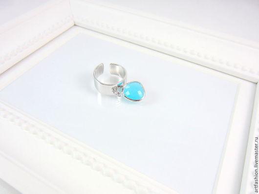Кольцо от Марии Гербст  `Ясное небо`. Кольцо авторское `Ясное небо` с подвеской. Кольцо серебряное с камнем `Ясное небо`