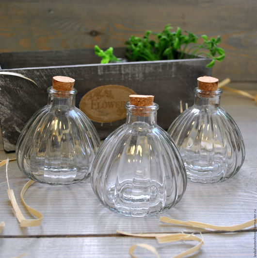 Бутылка 200мл, с пробкой, стекло 2566