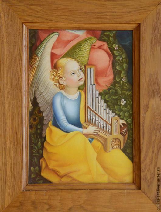 Иконы ручной работы. Ярмарка Мастеров - ручная работа. Купить Ангел с портативом. Handmade. Разноцветный, музыканту, готика, иконы, лак