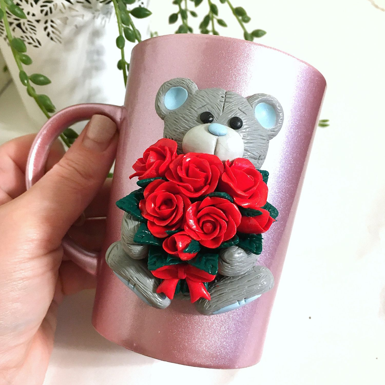 Teddy Bear Mug With A Bouquet Of Roses Made Of Polymer Clay Zakazat Na Yarmarke Masterov Hsnz1com Kruzhki I Chashki St Petersburg