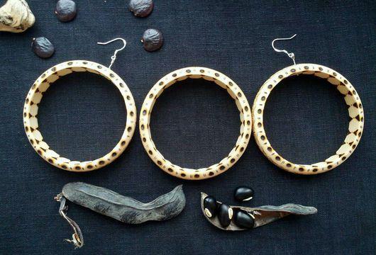 """Серьги ручной работы. Ярмарка Мастеров - ручная работа. Купить """"Секреты Дэви"""" - набор серьги и браслет, пирография. Handmade. Пирография"""