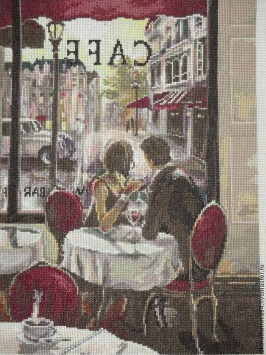 """Люди, ручной работы. Ярмарка Мастеров - ручная работа. Купить Вышитая картина """"В кафе"""". Handmade. Белый, люди, канва"""