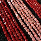 Бусины ручной работы. Ярмарка Мастеров - ручная работа Бусина 4-4,5 мм Шайба (8-9), коралл. Handmade.