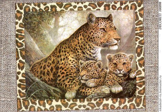 Декупаж и роспись ручной работы. Ярмарка Мастеров - ручная работа. Купить Мама-леопард и её малыши (D100898) - рисовая бумага, А4. Handmade.