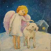 Картины и панно handmade. Livemaster - original item angel. I love my lamb Canvas oil 17na17cm. Handmade.
