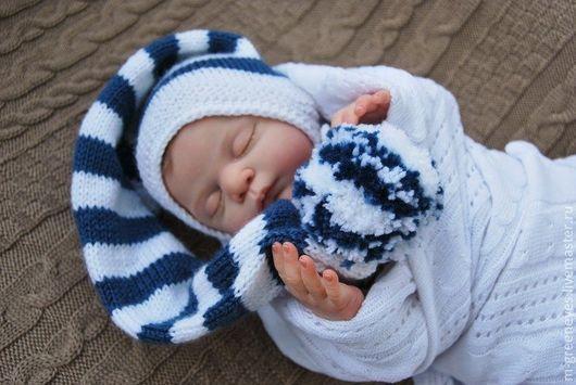 """Для новорожденных, ручной работы. Ярмарка Мастеров - ручная работа. Купить Шапочка """"Полосатик"""". Handmade. Колпачок, шапочка, крещение"""