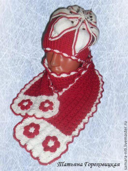 """Шапки и шарфы ручной работы. Ярмарка Мастеров - ручная работа. Купить Комплект для девочки """"Цветок лотоса"""". Handmade. Комбинированный"""