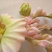 Украшения handmade. Livemaster - original item silk flowers. decoration brooch pin white orchid.. Handmade.