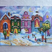 Картины и панно handmade. Livemaster - original item Watercolor painting Winter in the old town.. Handmade.