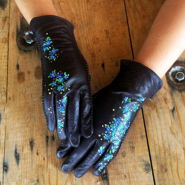 "Accessories handmade. Livemaster - original item Brown leather gloves. Unique design gloves. . ""Forget-me-not"" Size 8. Handmade."