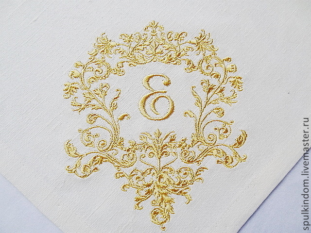 Napkin with Embroidery `the Monogram of Elizabeth` from A to z  `Sulkin house` embroidery workshop