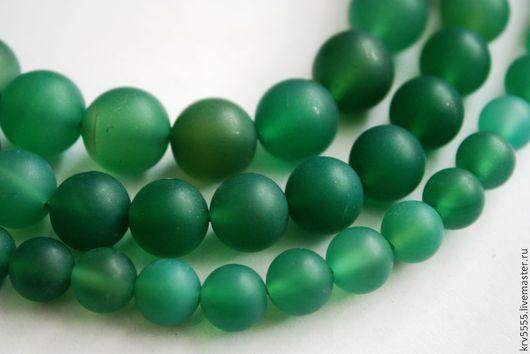 Для украшений ручной работы. Ярмарка Мастеров - ручная работа. Купить Агат матовый зеленый шар. Handmade. Бусина