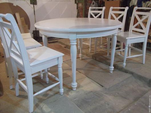 Мебель ручной работы. Ярмарка Мастеров - ручная работа. Купить кухонный стол со стульями в стиле прованс. Handmade. Белый