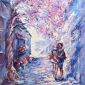 Pictures handmade. Livemaster - original item Romantic couple original oil painting on canvas Memories of Santorini. Handmade.
