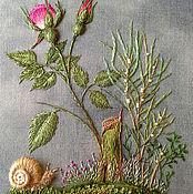 """Картины и панно ручной работы. Ярмарка Мастеров - ручная работа Картина вышивка миниатюра """"Мой сад"""". Handmade."""