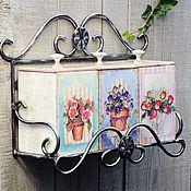 """Для дома и интерьера ручной работы. Ярмарка Мастеров - ручная работа Полка для кухни кованая""""Цветы""""с коробами. Handmade."""