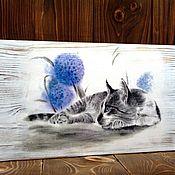 Панно ручной работы. Ярмарка Мастеров - ручная работа Панно: котик. Handmade.