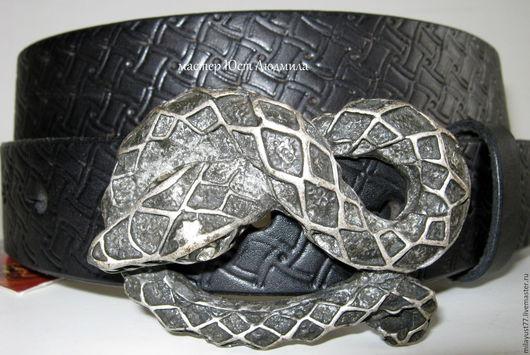 """Пояса, ремни ручной работы. Ярмарка Мастеров - ручная работа. Купить Ремень """"Змейка"""". Handmade. Темно-серый, металлическая фурнитура"""