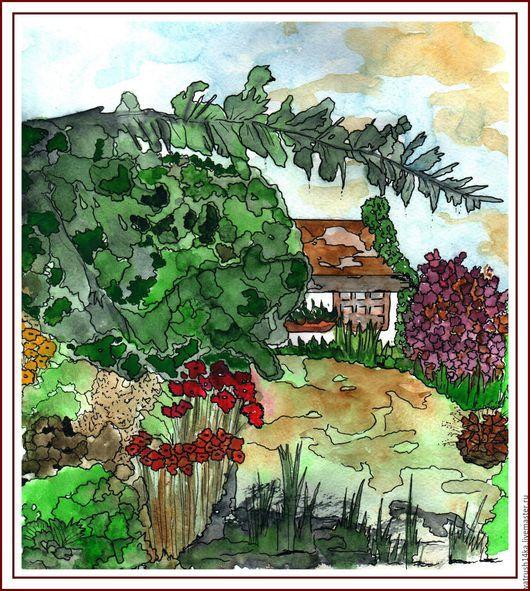 Пейзаж ручной работы. Ярмарка Мастеров - ручная работа. Купить Аакварель летний пейзаж.. Handmade. Комбинированный, акварельный пейзаж